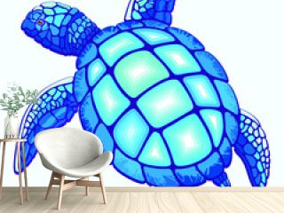 Sea Turtle Blue and Turquoise isolated on white Vector Illustration