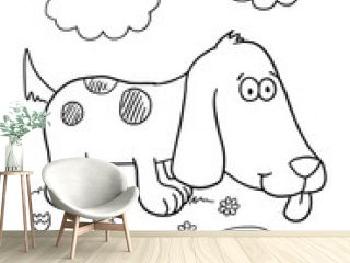 Cute Puppy Dog Coloring Book Page Vector Illustration Art