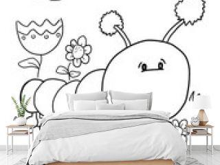 Cute Caterpillar Coloring book Page Vector Illustration Art
