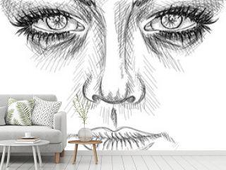 Hand drawn sketch art - Face sketch art - vector