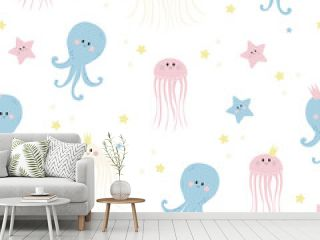 Seamless patterns with sea inhabitants. Cute starfishes, jellyfish and octopus on a white background. Vector. For design, decor, printing, packaging, textiles and wallpaper