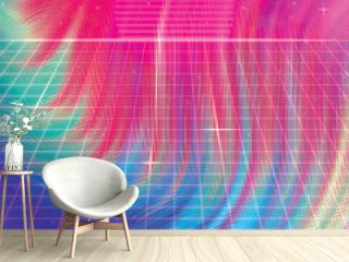 Abstract Colorful Background Soft Fluid Animation.  Retro abstract background futuristic neon landscape 1980s style. Perspective grid in retro style. Digital cyber surface style of the 1980`s.