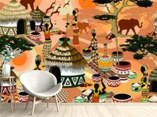 African Life Women in Savanna Tribal Village Vector Seamless Fabric Pattern Background