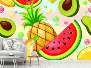 Fresh Summer Fruits Vector Seamless Repeat Textile Pattern