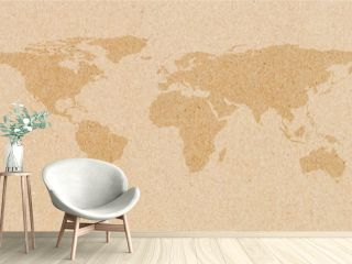 World map on brown paper background.