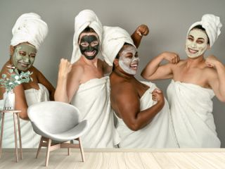 Happy multiracial women having skin care spa day - People selfcare concept