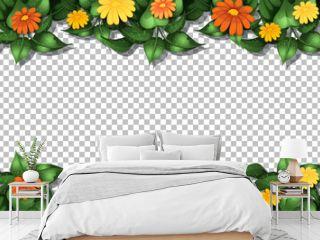 Flower frame template on transparent background
