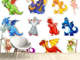 Sticker set with different fairytale cartoon characters