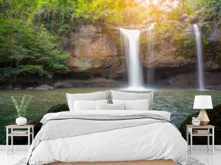 Beautiful waterfall in rain forest  in Khao Yai National Park, Thailand