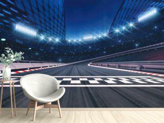 Asphalt racing track finish line and illuminated race sport stadium at night. Professional digital 3d illustration of racing sports.