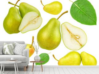 group of ripe pears isolated on white background