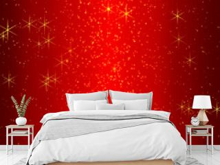 3D Rendering of Luxury Gold Glitter on Red Background
