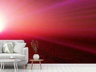 sunset sea sun ray clear sky. 3d rendering