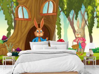 Garden scene with many rabbits cartoon character