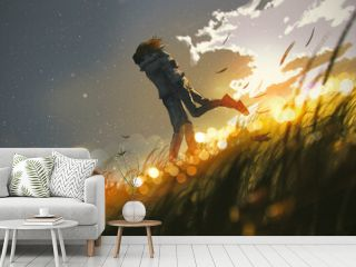 couples embracing each other in love on the hill, digital art style, illustration painting