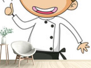 Little chef cartoon character isolated