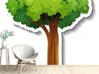A tree with green leaves sticker on white background