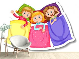 Sticker template with three kids in pajamas costumes isolated