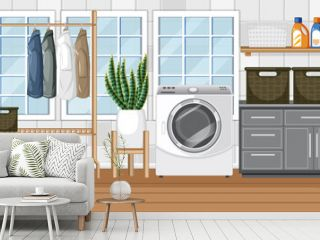 Laundry room scene with washing machine and clothes hanger