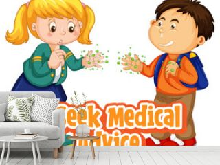Seek Medical Advice font in cartoon style with two kids do not keep social distance isolated on white background