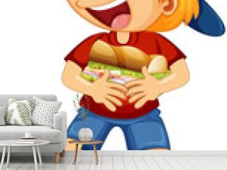 A boy holding food cartoon character isolated on white background