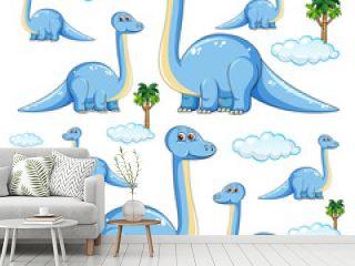 Set of isolated brachiosaurus dinosaurs cartoon character on white background