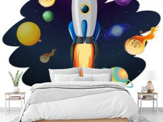 Rocket ship with many planets and asteroids