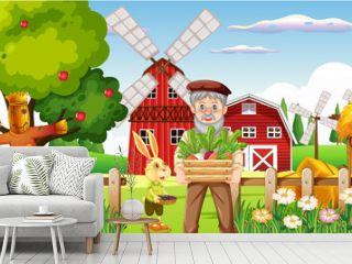 Farm scene with old farmer man and farm animals