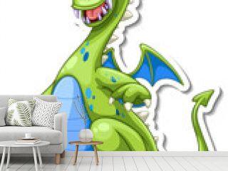Green Dragon cartoon character sticker