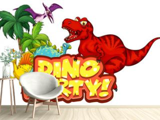 Cute Dinosaurs cartoon character with Dino Party font banner