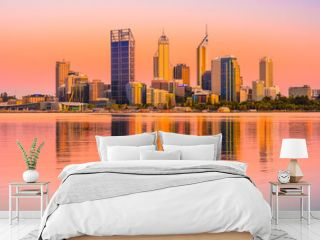 Sunrise view of Perth city buildings and the Swan River seen from Mill Point. The modern city of Perth is the state capital of Western Australia, Australia.