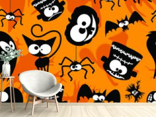 Halloween Fun and Creepy Cute Caharacters Seamless Repeat Pattern Background