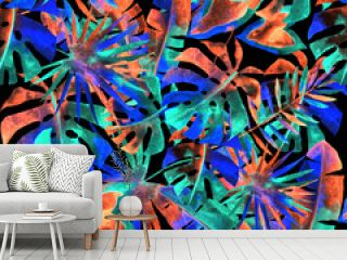 Watercolor seamless pattern with colorful abstract tropical leaves. Bright summer print with exotic plants. Creative trendy botanical textile design.
