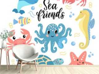 Set of cute cartoon sea animals -  octopus crab turtle narwhal seahorse and lettering. Vector graphics on a white background. For the design of posters, covers, cards, prints on packaging.