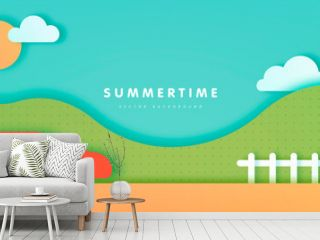 Summer background with sky, clouds, hills, road and red car in paper cut style. Vector illustration
