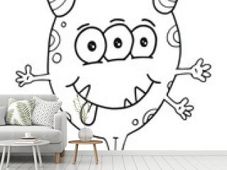 Happy Silly Cute Monster Vector Illustration Coloring Book Page Art