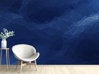 Abstract Blue Background. Dark low poly triangle pattern. Virtual computer Landscape. Technology style. Sci-fi surface. Banner or presentation template. Vector illustration