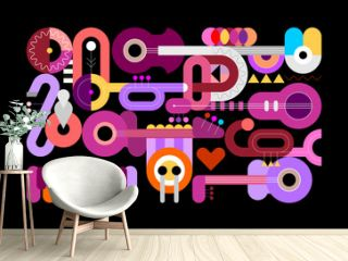 Geometric style vector illustration of different musical instruments isolated on a black background. Graphic design with guitars, trumpets, sax, piano and drum.