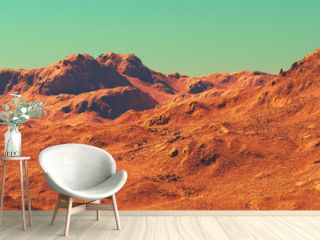 Mars landscape panorama, 3d render of imaginary mars planet terrain, orange desert with mountains, realistic science fiction illustration.