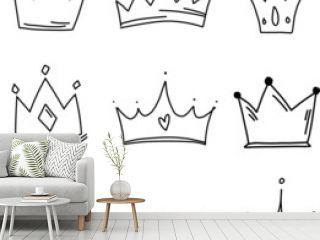 set of crowns isolated on white background illustration