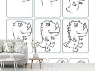 Cute Dinosaur How to Draw Worksheet Vector Illustration Page