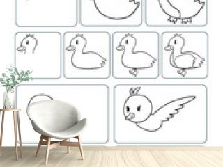 Cute Animals Drawing Worksheet Vector Illustration Page