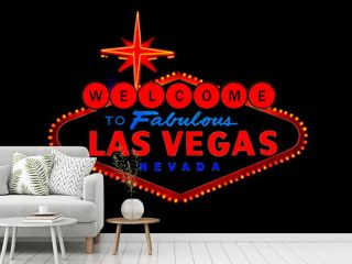 welcome to las vegas street sign isolated on black background