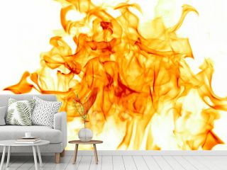 Flames on white