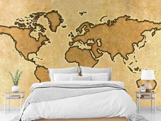 Parchment world map