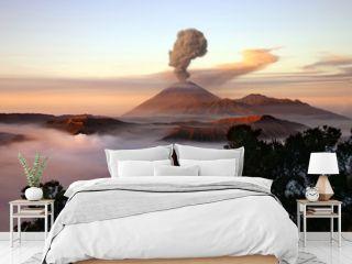 Volcano with smoke