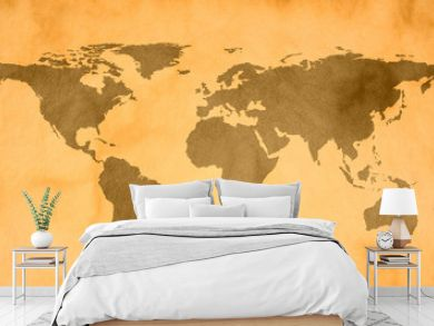 world map on vintage paper