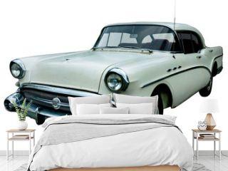 classic white retro car isolated