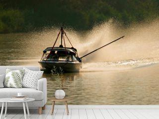 backlit boat