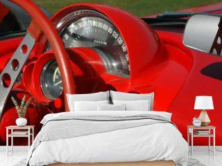 red vintage sports car